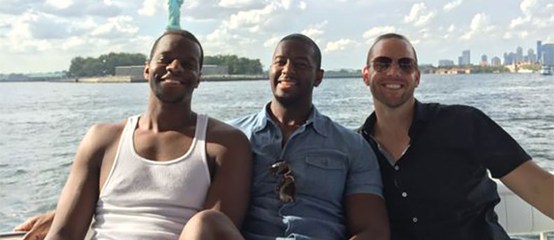 Brothers Marcus and Andrew Gillum and lobbyist/friend Adam Corey during a New York harbor boat ride with undercover FBI agents. Photo from the investigation