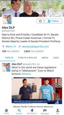 Alex Diaz de la Portilla follower count May 18