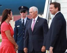 Jeanette Nuñez with VP Mike Pence and Ron DeSantis