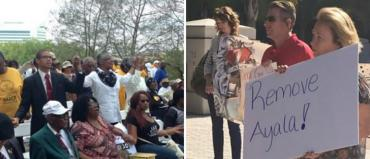 Rally for Ayala (Tallahassee), against Ayala (Orlando). Credit: News13