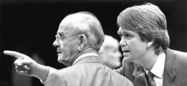 Bert Harris, left, with Tom Gustafson in the House, 1986