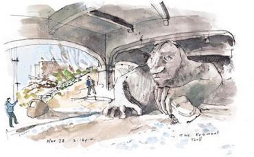 A bridge to nowhere, complete with trolls. Cartoonist: Gabriel Campanario