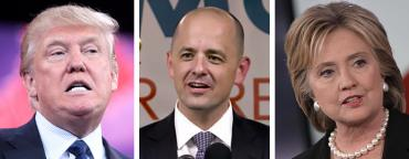 Donald Trump, Evan McMullin and Hillary Clinton