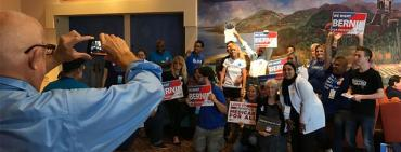 Bernie Sanders supporters pose at weekend FDP conference