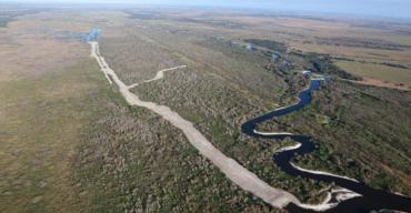 The completed backfilling of the MacArthur Ditch section of the Kissimmee River