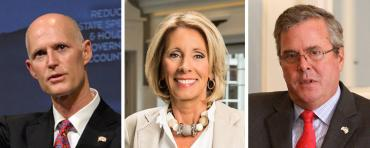 Rick Scott, Betsy DeVos and Jeb Bush