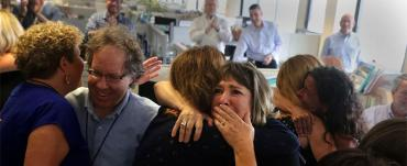 Pure emotion: The newsroom, as the announcement is made