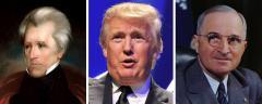 Andrew Jackson, Donald Trump and Harry Truman