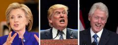 Hillary Clinton, Donald Trump and Bill Clinton