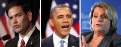 Marco Rubio, Barack Obama and Ileana Ros-Lehtinen