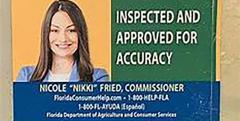 Nikki Fried sticker on a Florida gas pump