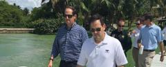 Sen. Marco Rubio, right, and Joe Negron during a Martin County visit Friday