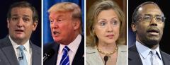 Ted Cruz, Donald Trump, Hillary Clinton and Ben Carson