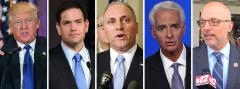 Donald Trump, Marco Rubio, Steve Scalise, Charlie Crist and Ted Deutch