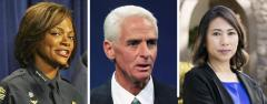 Val Demings, Charlie Crist and Stephanie Murphy