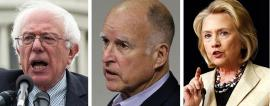 Bernie Sanders, Jerry Brown and Hillary Clinton