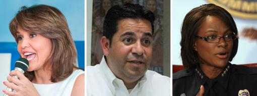 Annette Taddeo, Ben Ray Lujan and Val Demings